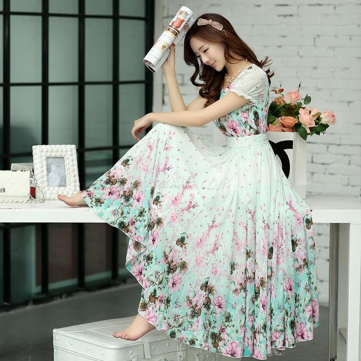2014 New Fashion Summer Short Sleeves Scoop Flower Printing Long Beach Maxi Dress 10959516 - Maxi Dresses - Dresswe.Com