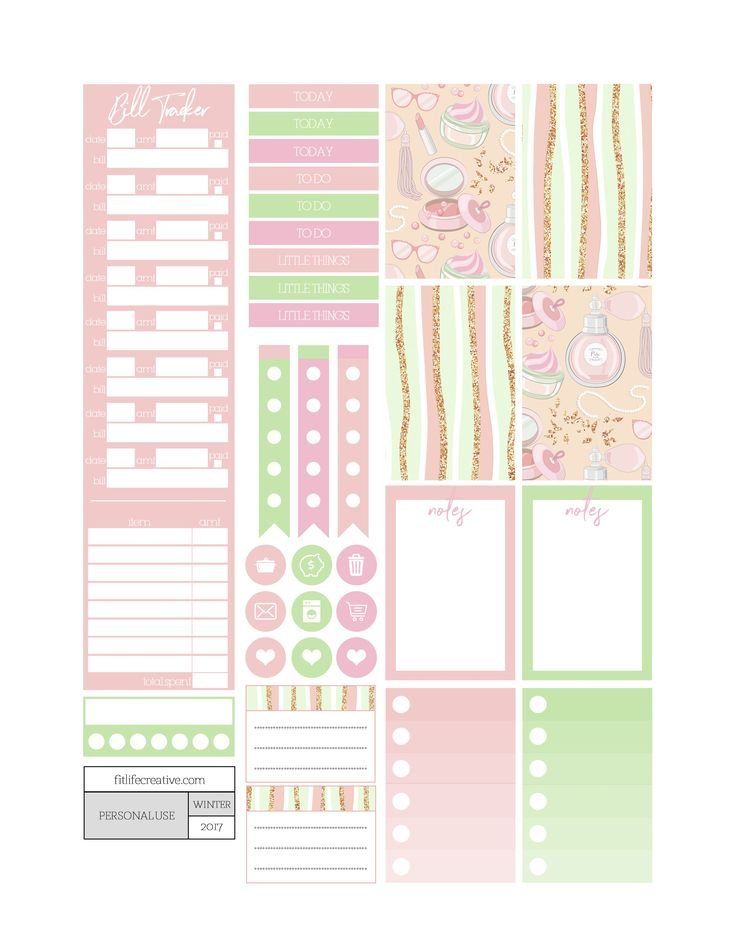 Free Printable Dolled Up Planner Stickers from Fit Life Creative