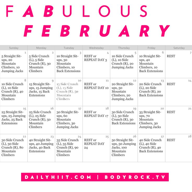What a perfect month for a daily workout or bonus challenge! There are exactly 4 weeks for us to whittle our waistline. f(AB)ulous February is all about