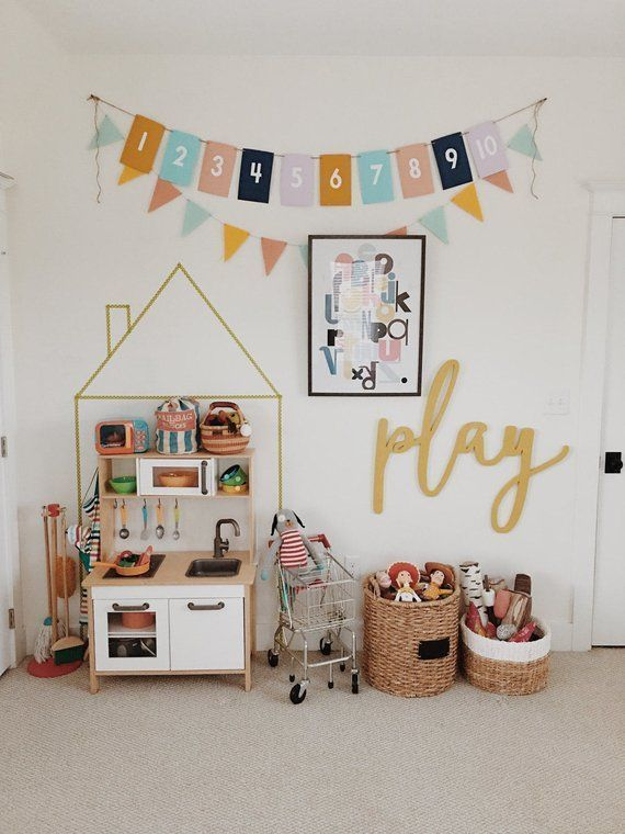 Large play Word Wood Cut Wall Art Sign Home Office Nursery Playroom Decor