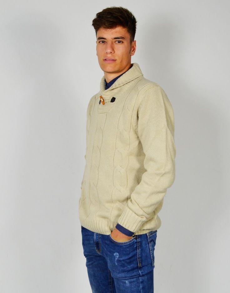 Jersey de punto grueso beige con cuello desbocado y acabados de canalé para hombre joven. #Jersey #Jerseydepuntogrueso #Cardigan #Modaonline #Tiendaonline #Modajoven #Tiendas13 http://tiendas13.com/sueteres-y-cardigans/2723-jersey-con-cuello-desbocado.html