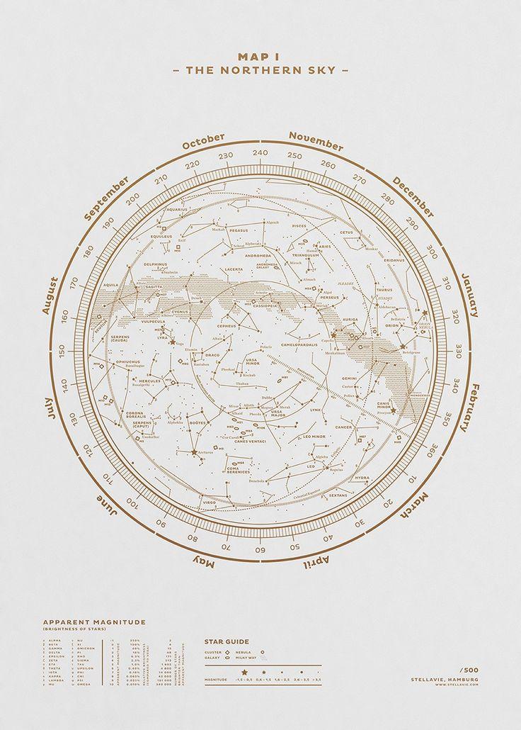 Carte du ciel hémisphère nord http://fubiz.spootnik.com/p/1505/map-i-the-northern-sky-gold-white.html