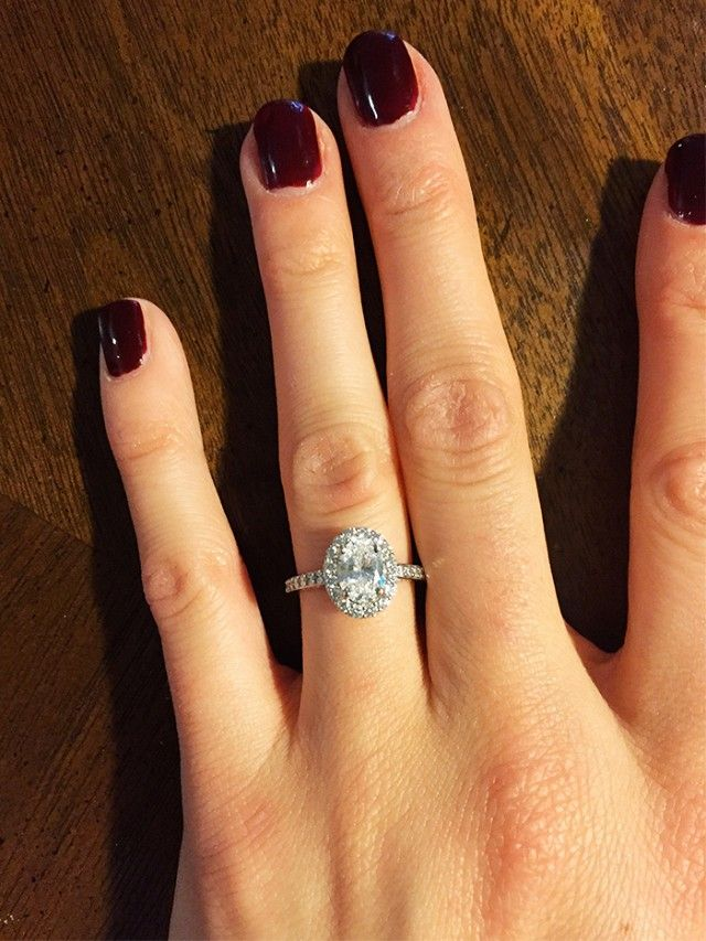 """""""My now husband sketched and designed my ring alongside a jeweler so that the ring would be uniquely just for me. He handpicked and purchased the oval center stone and designed the setting,..."""