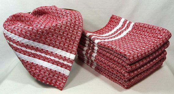 Torchons de flocon de neige tissé à la main en rouge et blanc