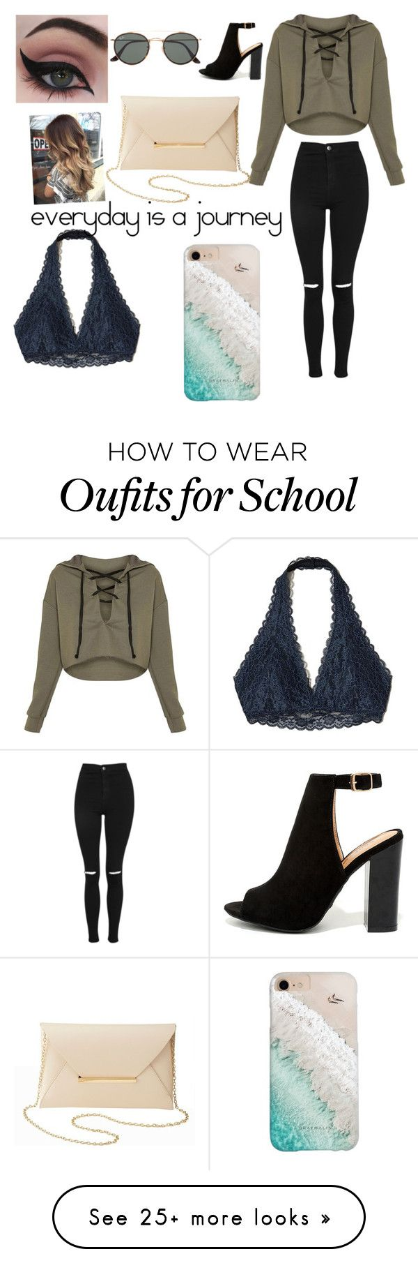 """school look"" by kayla92104 on Polyvore featuring Topshop, Bamboo, Gray Malin, Ray-Ban, Charlotte Russe, Concrete Minerals and Hollister Co."