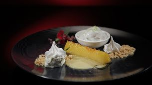 Lime and Coconut Sorbet with Pineapple and Meringue
