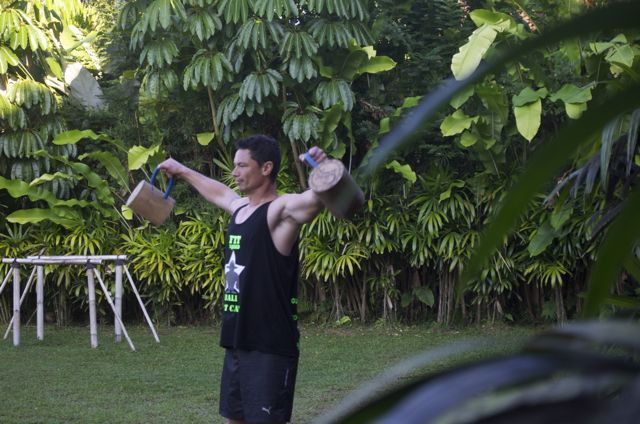 Ingenious… bamboo kettle bells filled with volcanic sand.. works for us. www.sharingbali.com