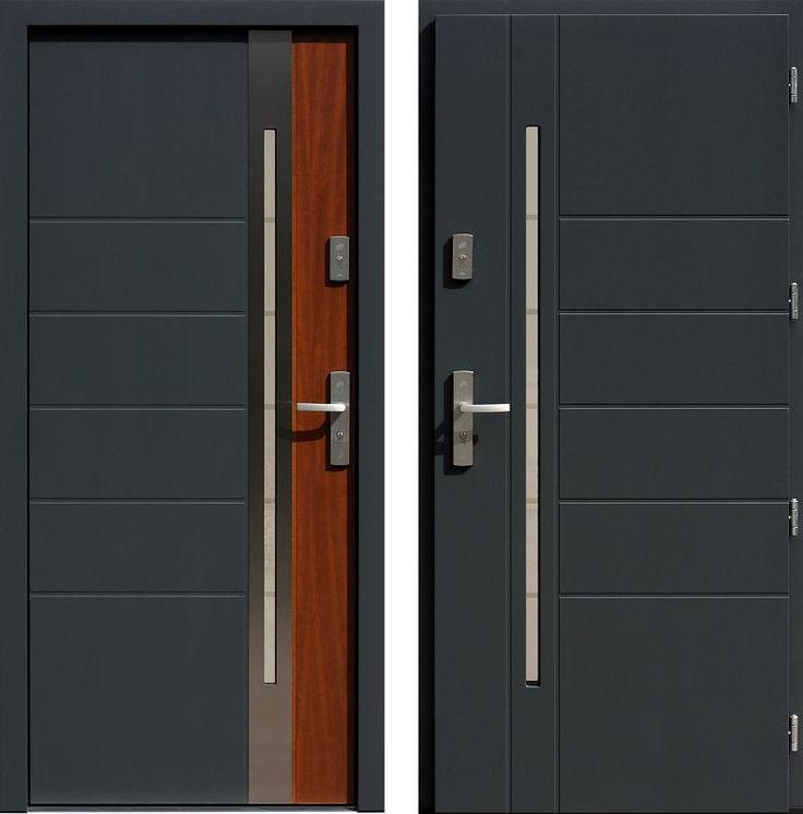 Drzwi wejściowe z aplikacjamii ze stali nierdzewnej inox wzór 475,5-475,15+ds11 antracyt + teak