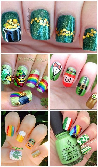 Festive St. Patrick's Day Nail Ideas! Find leprechauns, rainbows, gold, shamrocks, and more designs! | CraftyMorning.com: