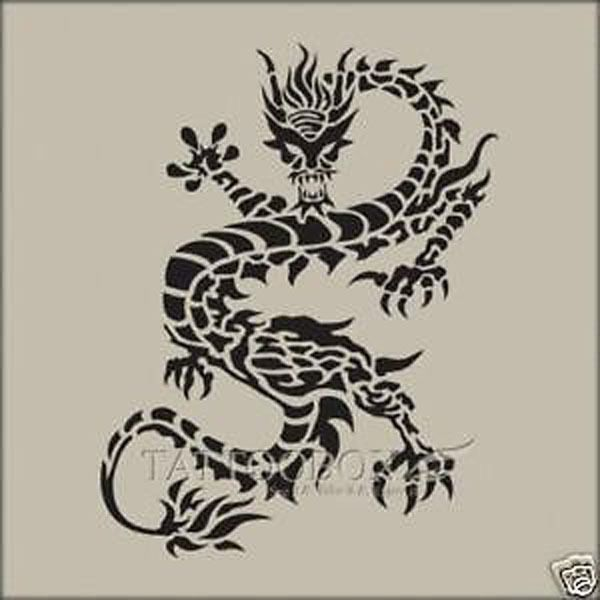 Gorgeous airbrush tattoo stencils - Reusable - Dragon 4 ...