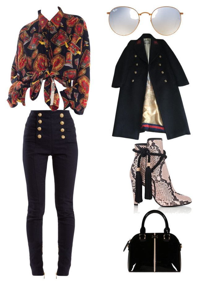 """""""Untitled #171"""" by denisapurple on Polyvore featuring Philosophy di Lorenzo Serafini, Balmain, Gucci and Ray-Ban"""