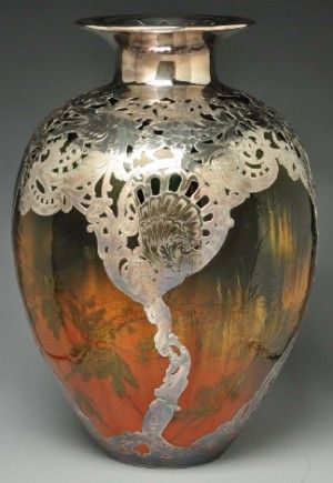 Monumental Rookwood pottery vase attributed to Valentien, with heavy silver overlay created by Gorham Silver Co., 14 in. tall. Made for the 1893 Columbian Exposition in Chicago.
