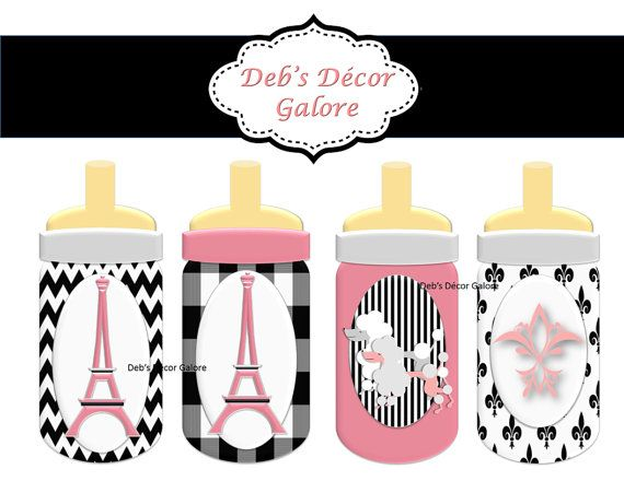 French Baby Bottle Decorations. Just Print On Cardstock And Cut Out. Use As  Part