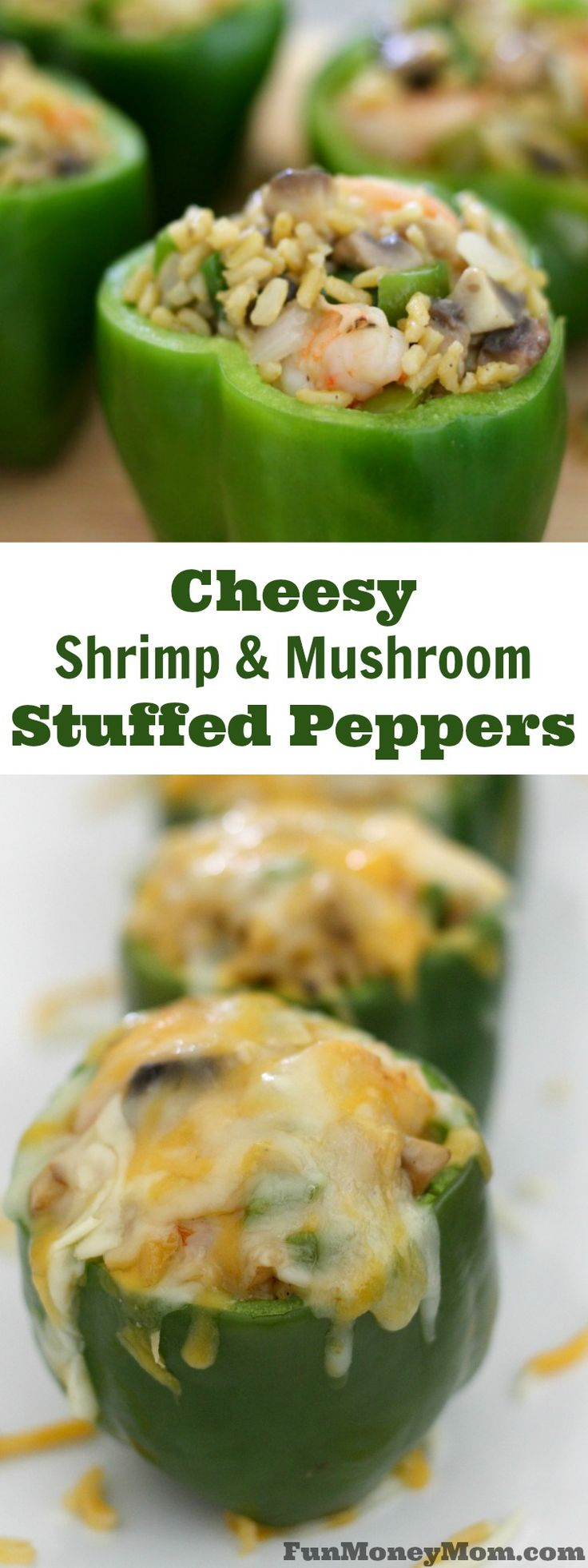 Want a delicious dinner recipe that the kids can help with? They'll have a blast making these cheesy shrimp and mushroom stuffed peppers! #ad
