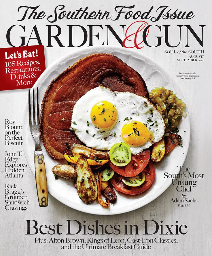 The Garden & Gun Southern Food Issue Inside, you'll find our look at how the South does breakfast, from boozy brunches to quail and eggs. Discover new recipes for your trusty cast-iron skillet, step into the kitchen with visionary chef John Fleer, and take a Korean-Southern culinary tour of Atlanta with John T. Edge and Avett Brothers cellist Joe Kwon. Plus, Rick Bragg's grouper sandwich cravings, chef John Currence's truly Great Dane, and lots more.