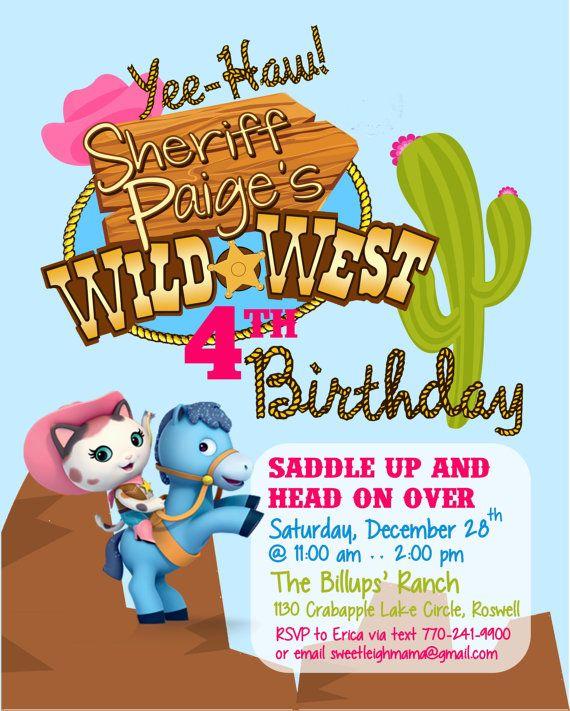CUSTOM Sheriff Callie's Wild West Birthday by sweetleighmama, $12.00