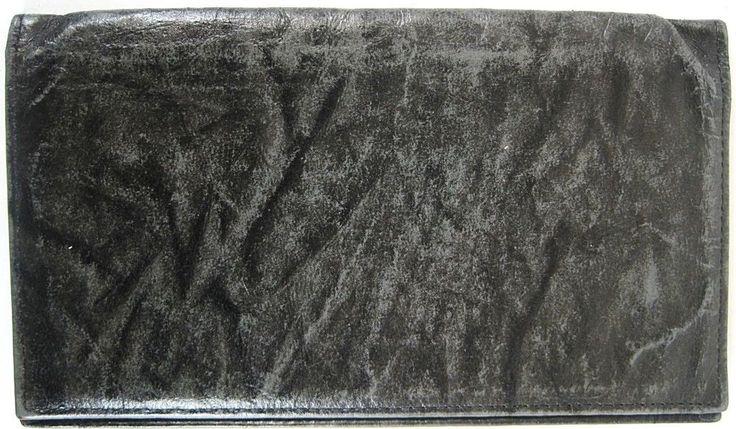 Swank Men Checkbook Wallet Pig Skin Leather Black Marble Bi-Fold.  JAJ 6 #Swank #Bifold