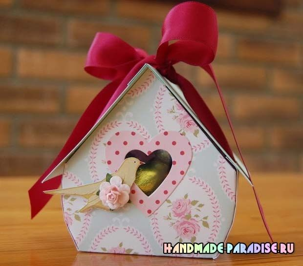 Скворечник из бумаги - подарочная упаковка для конфет