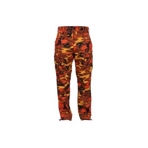 Orange Camo Pants featuring polyvore, women's fashion, clothing, pants, bottoms, brown trousers, army trousers, camoflauge pants, orange pants and army pants