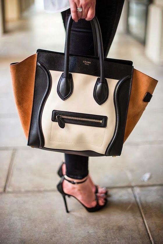 Celine Paris Double Tone Leather Handbag. This would be a suitable big girl purse foe me.