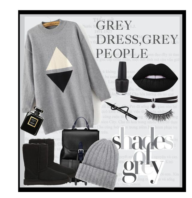 grey♥ by rea-aer on Polyvore featuring WithChic, UGG Australia, Aspinal of London, Fallon, The Elder Statesman, Lime Crime, Battington, Chanel and OPI