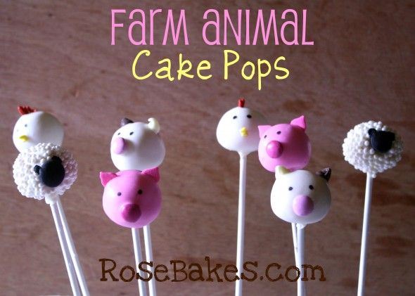 Farm Animal Cake Pops... Pigs & Roosters & Cows & Sheep.  Click over for more pics and a list of supplies to make these!