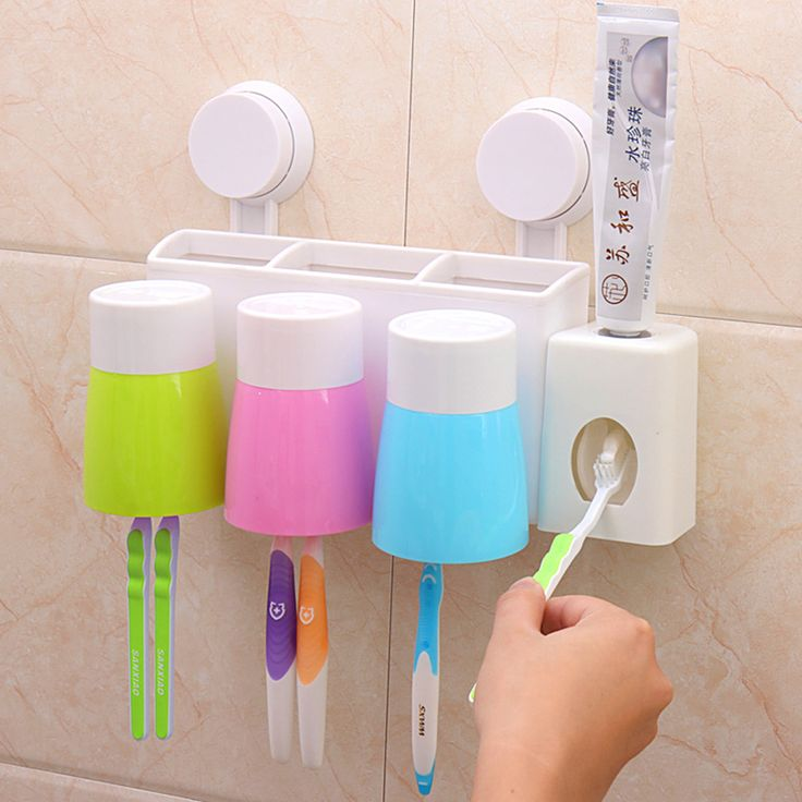 Parede criativo sucção 6 escova de dentes + 3 creme dental titular Hanger + creme dental dispensador com 3 copos organizador banheiro Set família alishoppbrasil