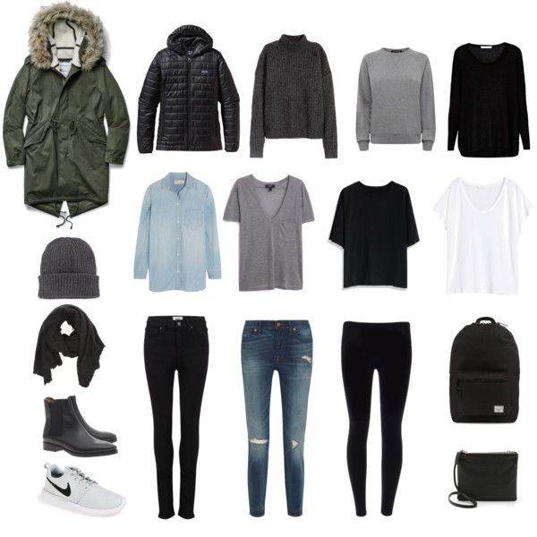 Japan Winter Packing by karenniven on Polyvore featuring Madewell, Century Seven, H&M, MANGO, Chicwish, Jaeger, Paige Denim, NIKE, Acne Studios and Herschel Supply Co.