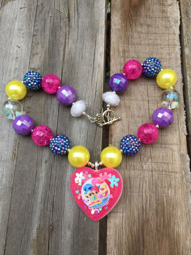 Shimmer and Shine OOAK Resin Pendant Inspired Necklace,Nick Jr. Necklace, Chunky Bead Necklace perfect for Birthday Parties by DCompany on Etsy