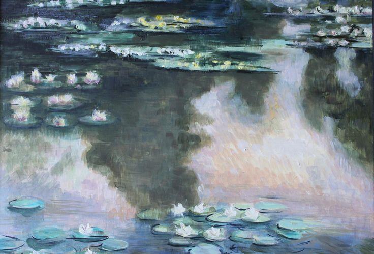 Intero quadro ripreso dalle ninfee di Monet Olio su tela #oil #canvas #painting #waterlilies