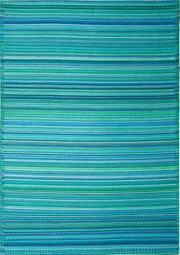 Beautiful Indoor/Outdoor Cancun Rug, Turquoise U0026 Moss Green, 6x9 Tropical Outdoor Rugs