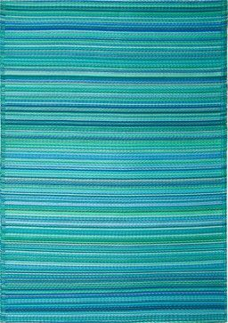 Indoor/Outdoor Cancun Rug, Turquoise & Moss Green, 6x9 tropical outdoor rugs - $110!