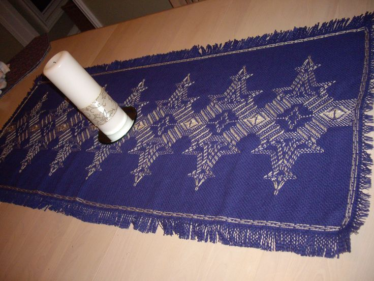 Swedish weaving using monk's cloth.    The pattern is called Flickering Flakes and was designed by Christine Allan