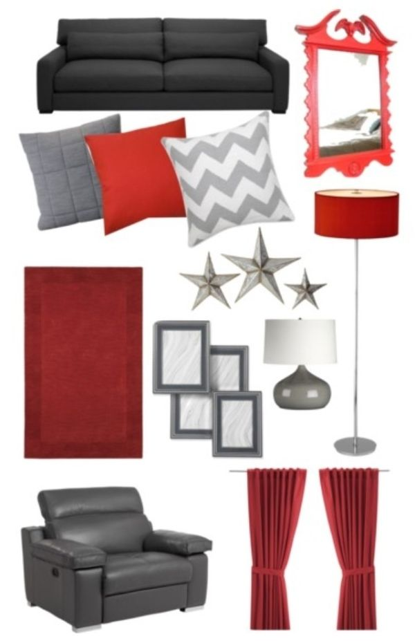 Red and grey color scheme for living room by xiliel - Red black and grey living room ideas ...