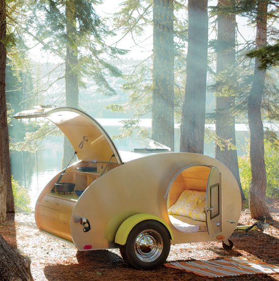 Now THIS is how I wouldn't mind going camping! up off the ground away from the bugs, nice comfy bed, and kitchenette!: Teardrop Campers, Camping, Teardrop Trailers, Sunsets Magazines, Camps Trailers, Travel, Things, Roads Trips, Tear Drop