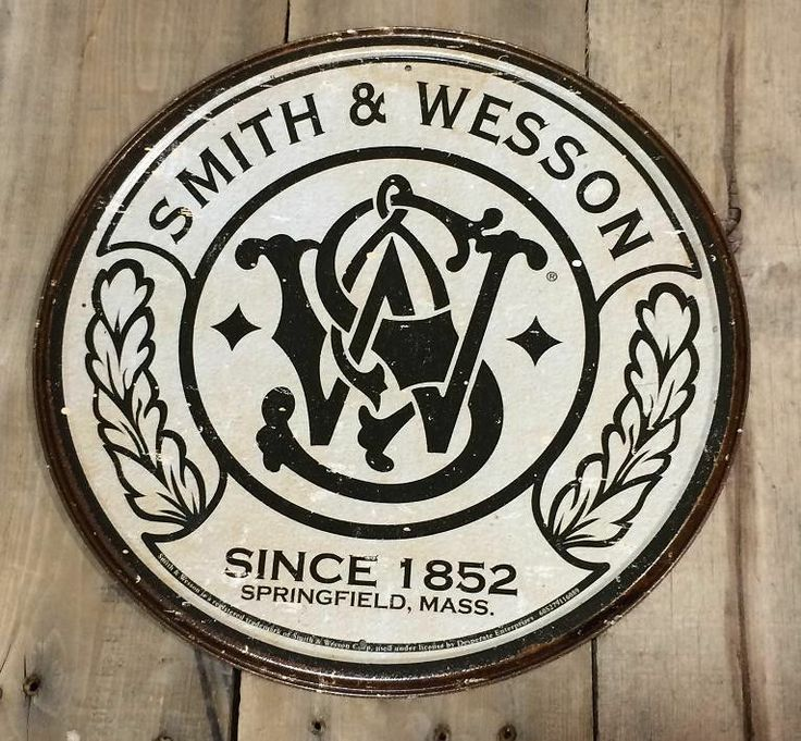 11.75 CREAM Round Smith Wesson Guns country Man Cave Plaque - Rustic Tin Sign