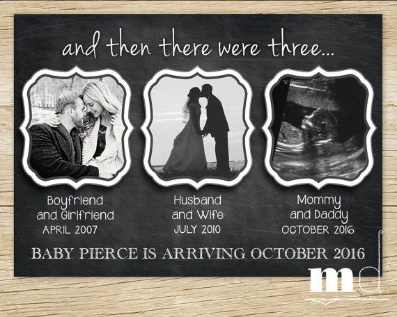 And Then There Were Three... Chalkboard Pregnancy Announcement / Baby Announcement Card / Facebook Announcement with Photos by MulliganDesign on Etsy