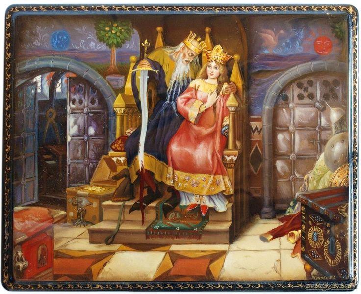 """Сказка """"Марья Моревна"""" http://russkaja-skazka.ru/marya-morevna/ Вот Марья Моревна улучила добрую минуту и стала Кощея выспрашивать. Кощей сказал: — За тридевять земель, в тридесятом царстве, за огненной рекою живет баба-яга; у ней есть такая кобылица, на которой она каждый день вокруг света облетает. Много у ней и других славных кобылиц; я у ней три дня пастухом был, ни одной кобылицы не упустил, и за то баба-яга дала мне одного жеребеночка.  #сказки #картинки #МарьяМоревна #art #Russia…"""