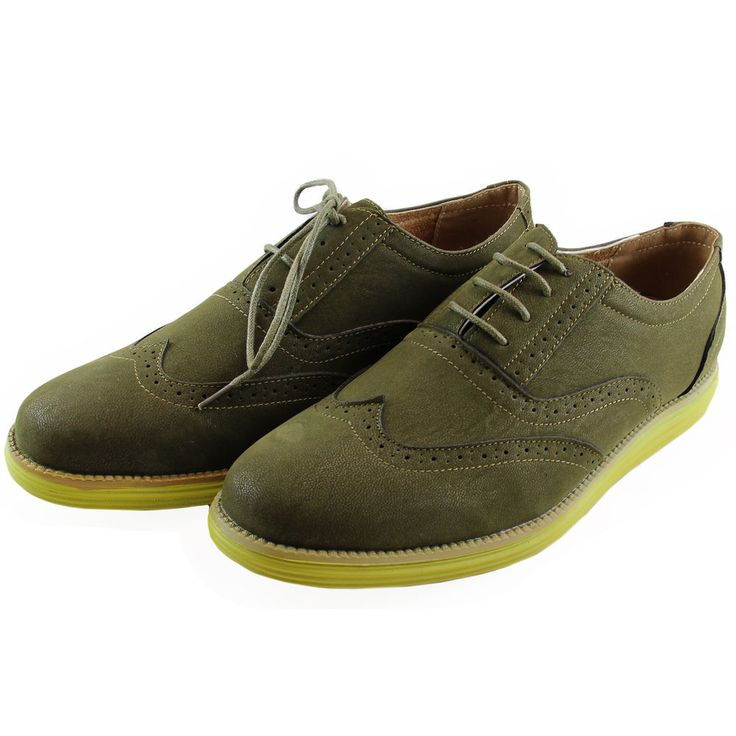 New men's shoes casual fashion lace up style oxfords synthetic suede olive green #JsAwake #Oxfords