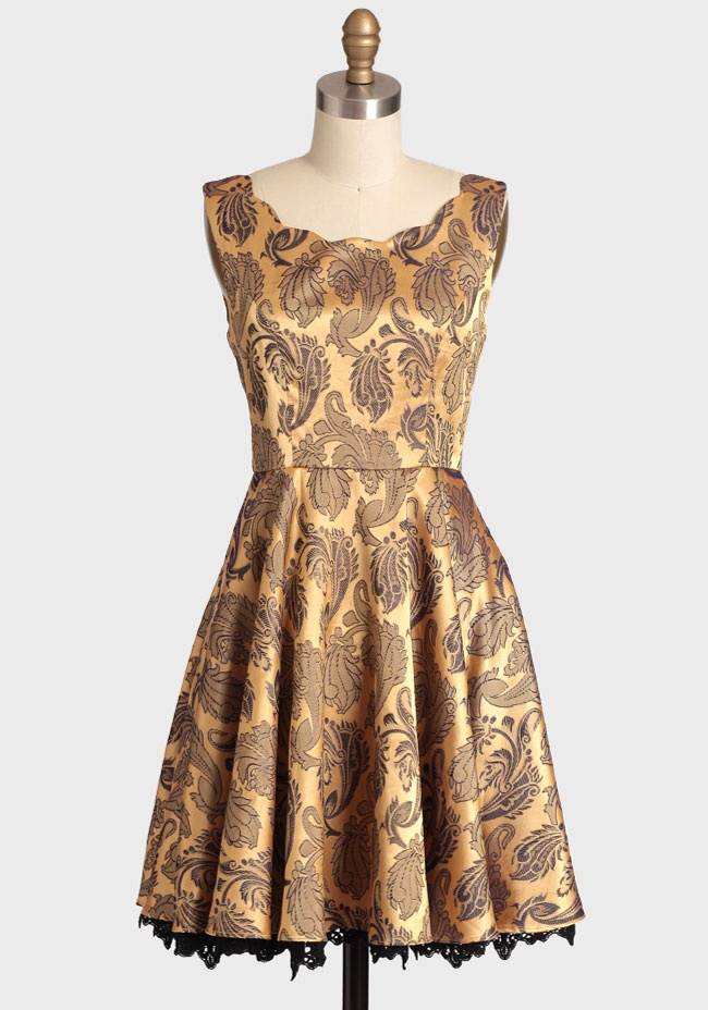 Golden Girl Scalloped Brocade Dress