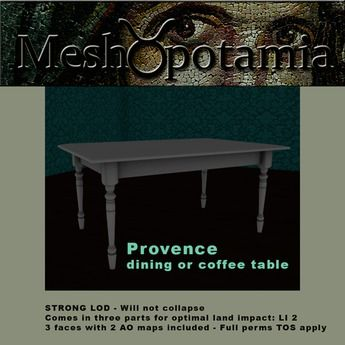 Meshopotamia Provence dining or coffee table