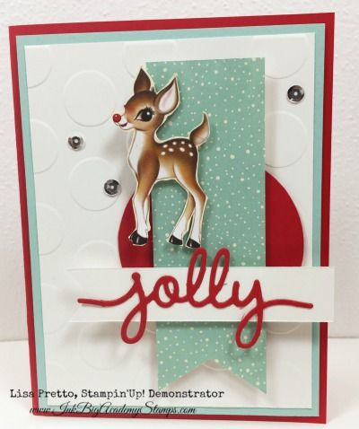Stampin'Up! Home for Christmas Designer series paper, Stampin'Up! Christmas Greetings thinlits, reindeer, rudolph, diy