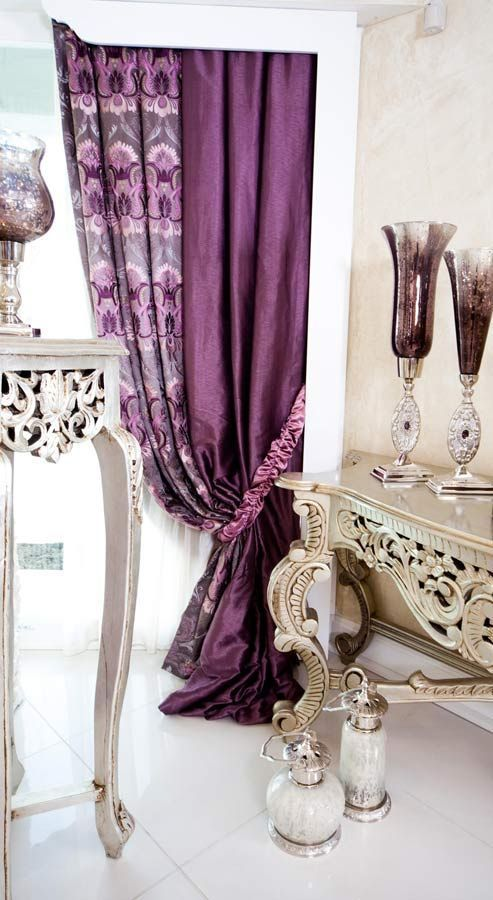 Image via  I'm thinking maybe going with purple as the accent color in our living room. We have a big window like this, so the curtain color will set the tone…   Image via  Purple curtains