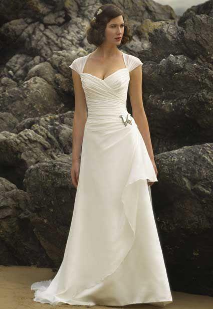 Wedding Dresses For 50 Year Olds: Simple Cap Sleeve Wedding Dress For Older Brides Over 40