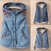 New Hot Women's Autumn Winter Thickening Denim Vest Vintage Embroidery Sleeveless Hooded Jacket Coat