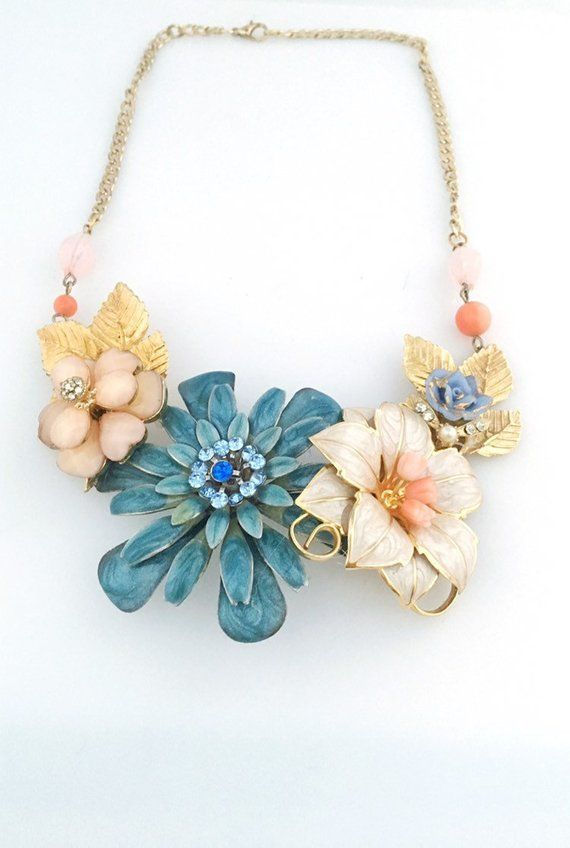 white and green Vintage Floral Necklace Set rusty pendant collage necklace colorful jewelry earrings upcycled peach