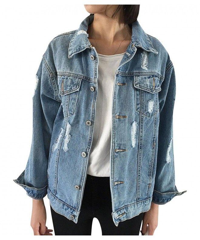 61a39faeb31a Oversize Denim Jacket For Women Ripped Jean Jacket Boyfriend Long Sleeve  Coat - CV1892KMQ3O