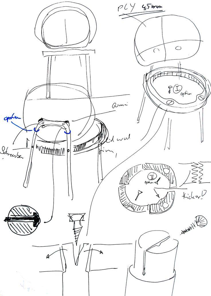 KITT flat-pack chair for HAY, making of, sketches by Stefan Diez www.stefan-diez.com