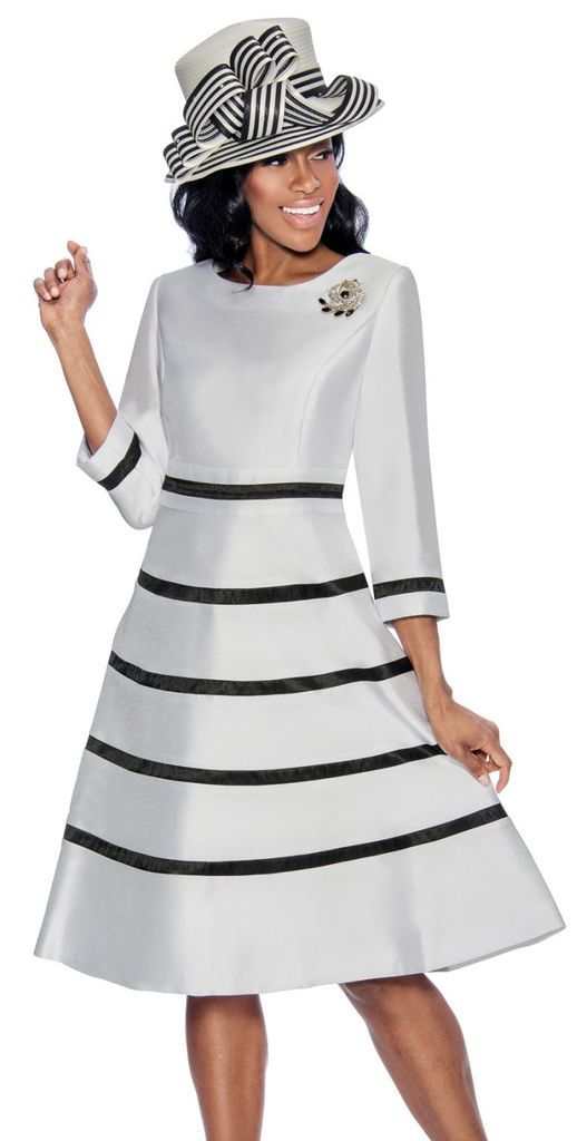 ff00ca048d1 Giovanna Dress 1446-White Black - Church Suits For Less
