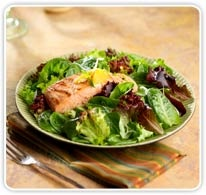 Grilled Salmon with Citrus Salsa and Baby Greens